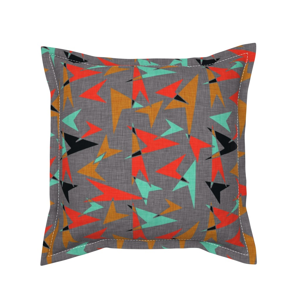 Serama Throw Pillow featuring Mid Century Modern Arrows - mcm11 by cherie