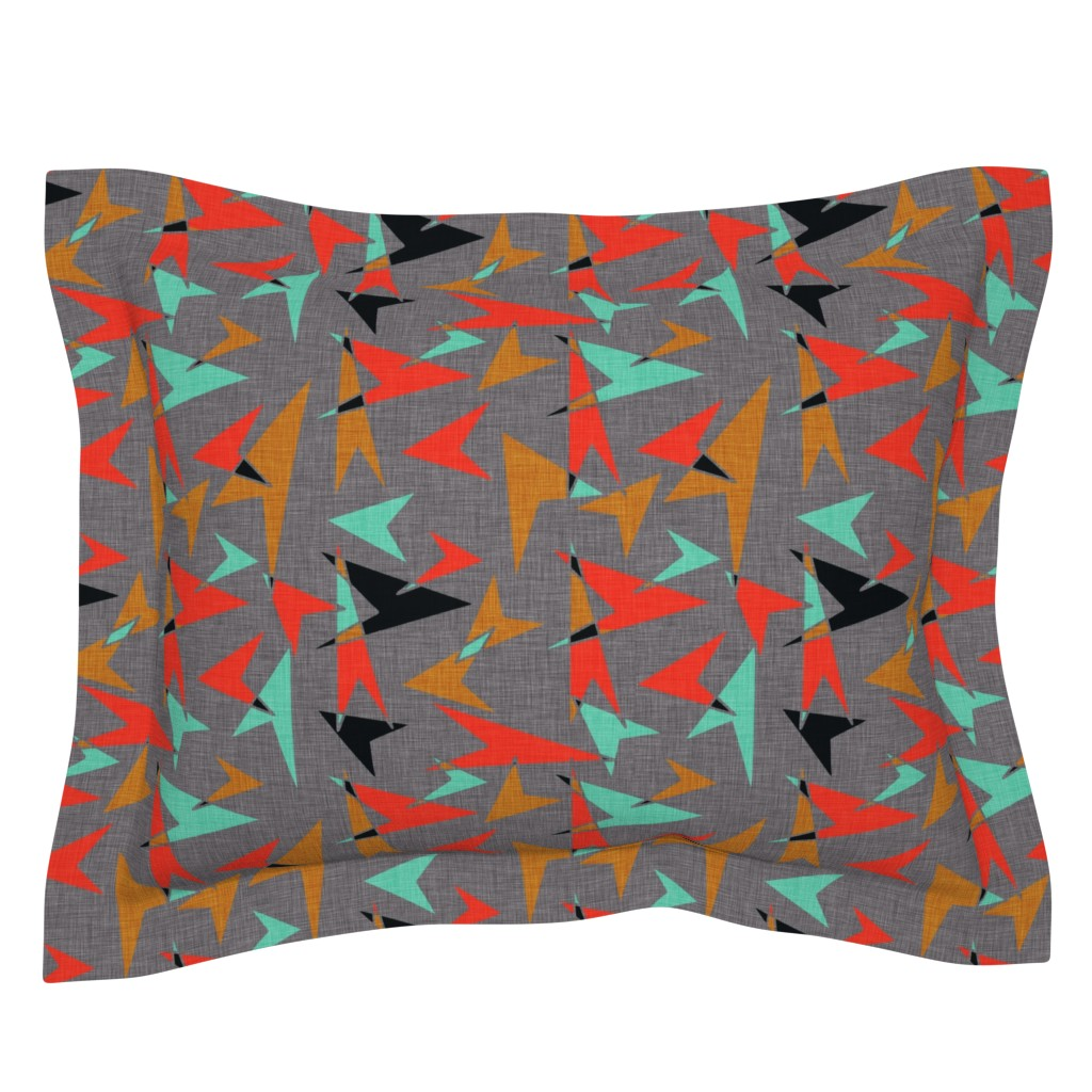 Sebright Pillow Sham featuring Mid Century Modern Arrows - mcm11 by cherie