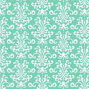 damask sea foam green