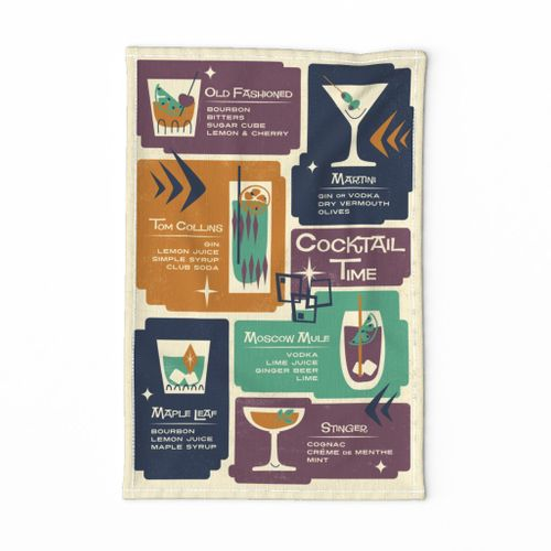 Mid Mod Cocktail Time Tea Towel- Bold Vibe // retro bar cart midcentury modern cocktail recipe fabric
