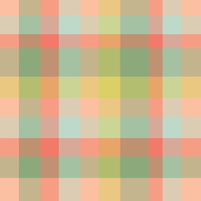 Modern Plaid - Coral Green Yellow