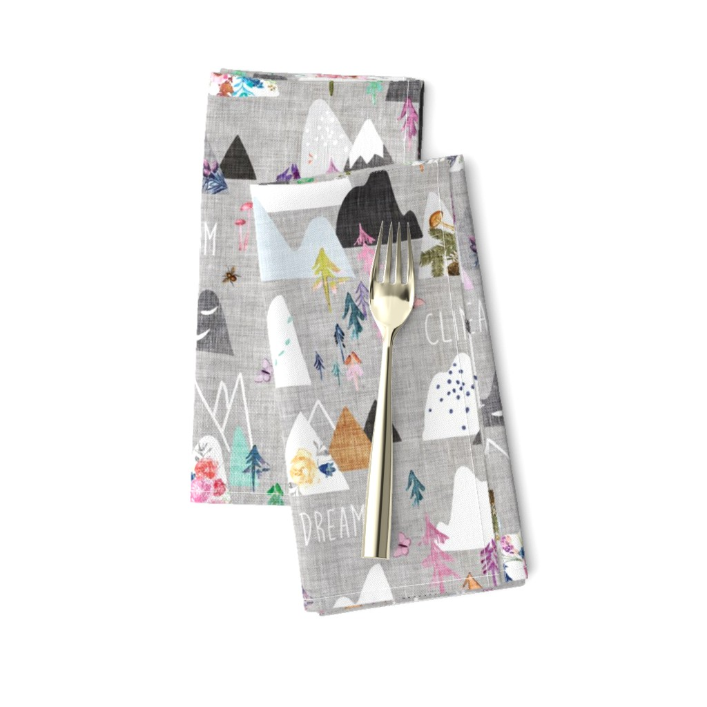 Amarela Dinner Napkins featuring Mountain Dreams (grey) MED by nouveau_bohemian