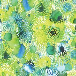 Circle garden green and blue