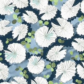 Water Lily Leaf Lines Blue / Small Scale