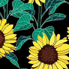 Sunny Sunflowers - Black - Large