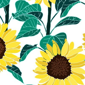 Sunny Sunflowers - White - Large