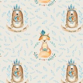 """10"""" Woodland Friends - Bear & Fox - Blush 7in"""