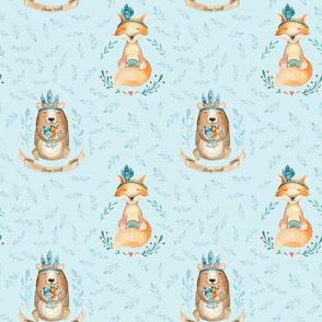 Woodland Friends - Bear & Fox - Blue - 18in