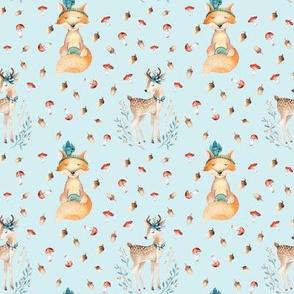 Woodland Friends - Deer & Fox - Blue 4in