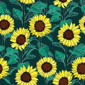 Sunny Sunflowers - Emerald - Small