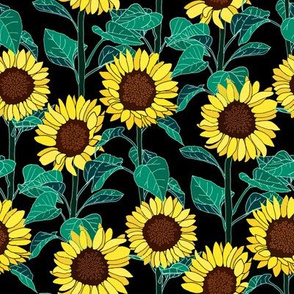 Sunny Sunflowers - Black - Small
