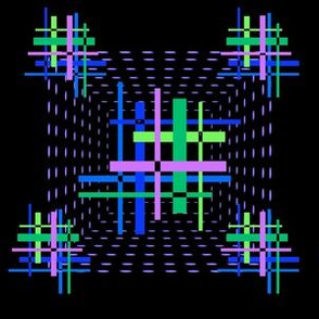 1960s optical hashtag squares on black