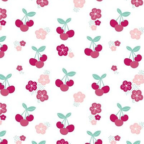 Cherry blossom colorful fruit garden cherries and flowers maroon pink girls summer spring