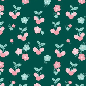 Cherry blossom colorful fruit garden cherries and flowers green mint pink girls summer spring