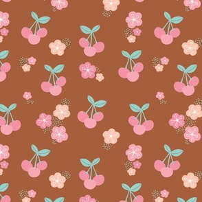 Cherry blossom colorful fruit garden cherries and flowers copper brown mint pink girls summer spring