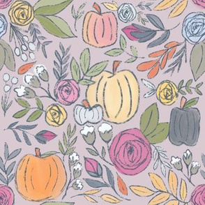 Pumpkin Spice Florals on Dusty Rose