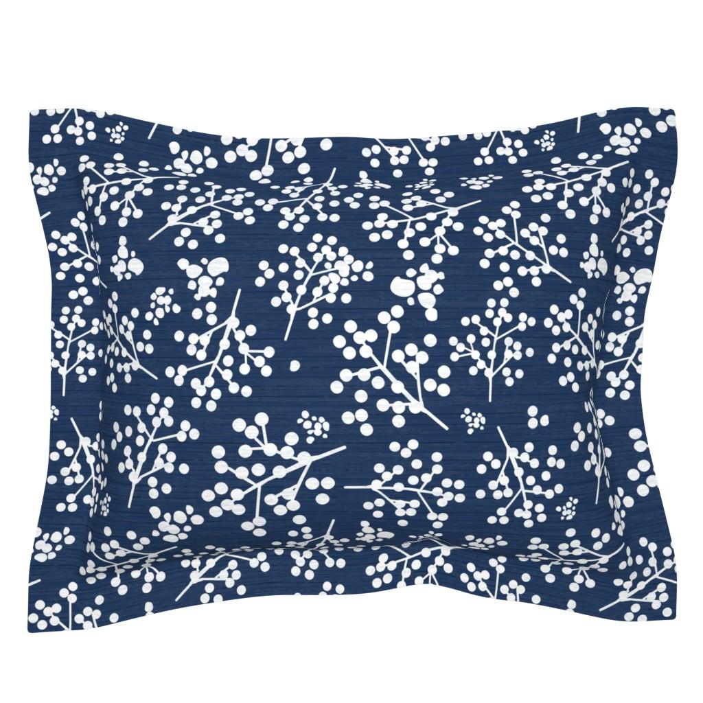 Sebright Pillow Sham featuring FarmhouseTwigs - Deep Blue by sarah_treu