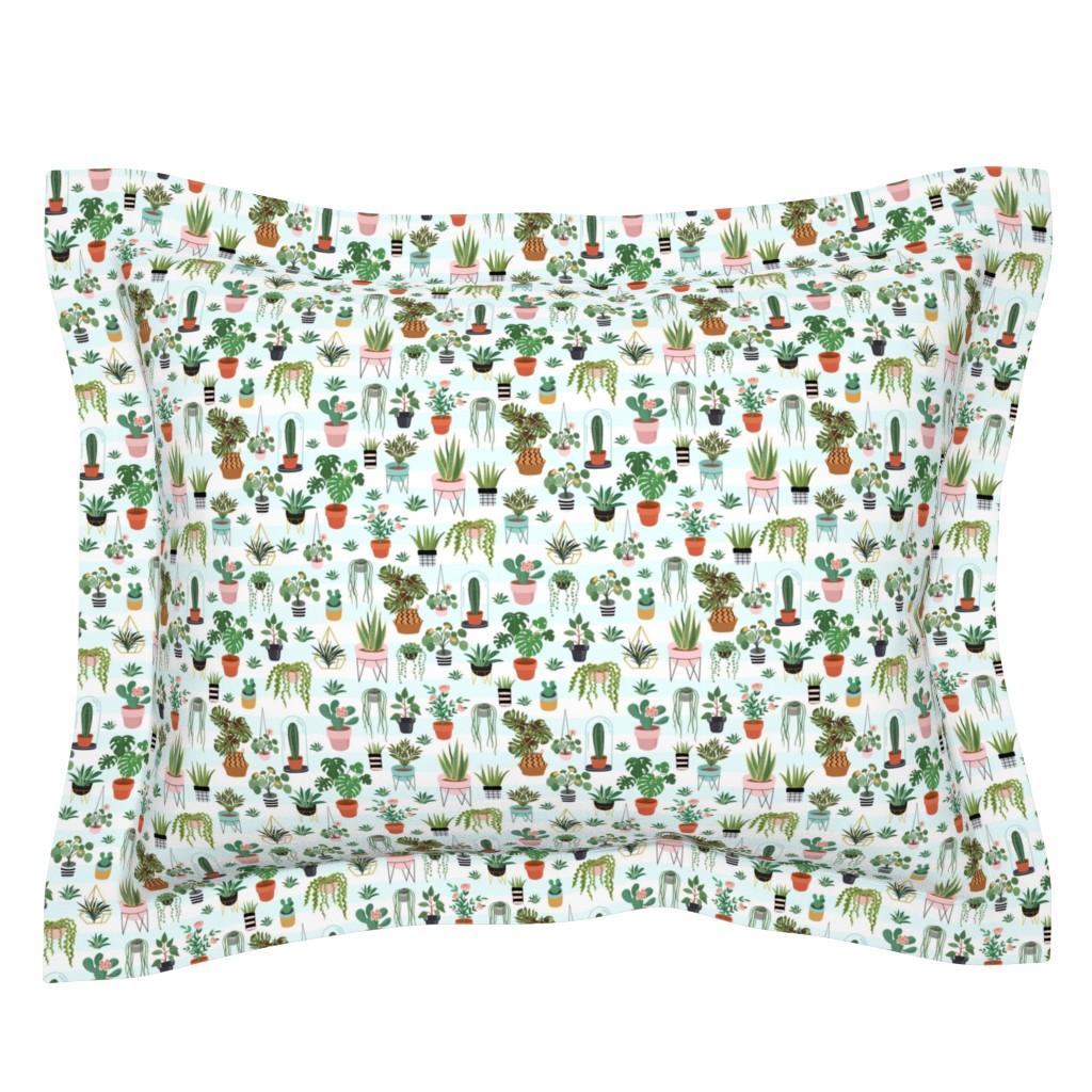 "Sebright Pillow Sham featuring 8"" Happy Place Garden - Light Blue Stripes by rebelmod"