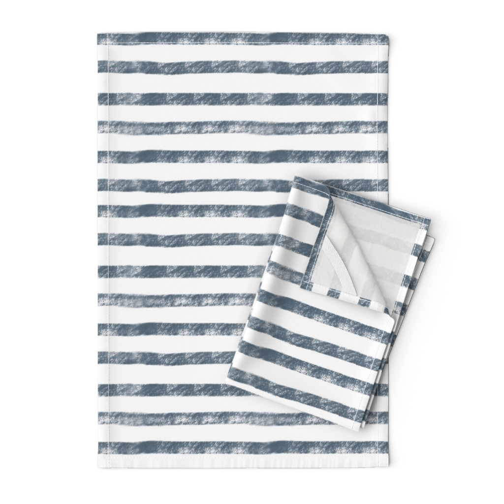 Orpington Tea Towels featuring Navy Stripes  by smallhoursshop