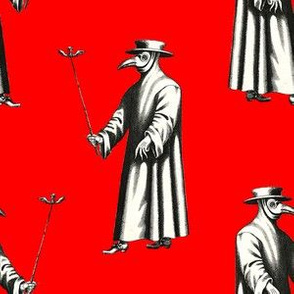 Plague Doctor on Bright Red