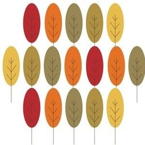 Fall Trees in Shapes, Red, Green, Gold