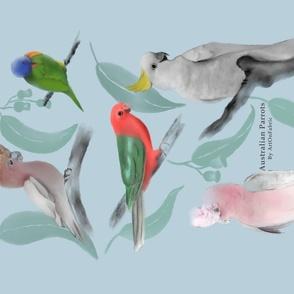 Australian Parrots Tea Towel
