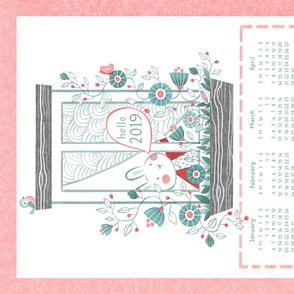 hello bunny tea towel calendar