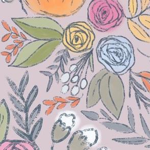 Pumpkin Spice Florals - Dusty Rose