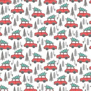 Holiday Christmas Tree Car Woodland Fall on White Tiny Small 1 inch