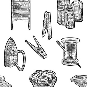 Rustic Vintage Laundry Tasks, Laundry Room Decor, Country Design Black and White Drawing
