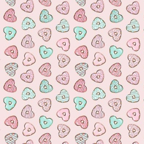 "(3/4"" scale) heart shaped donuts - valentines pink & mint  on pink (toss) C18BS"
