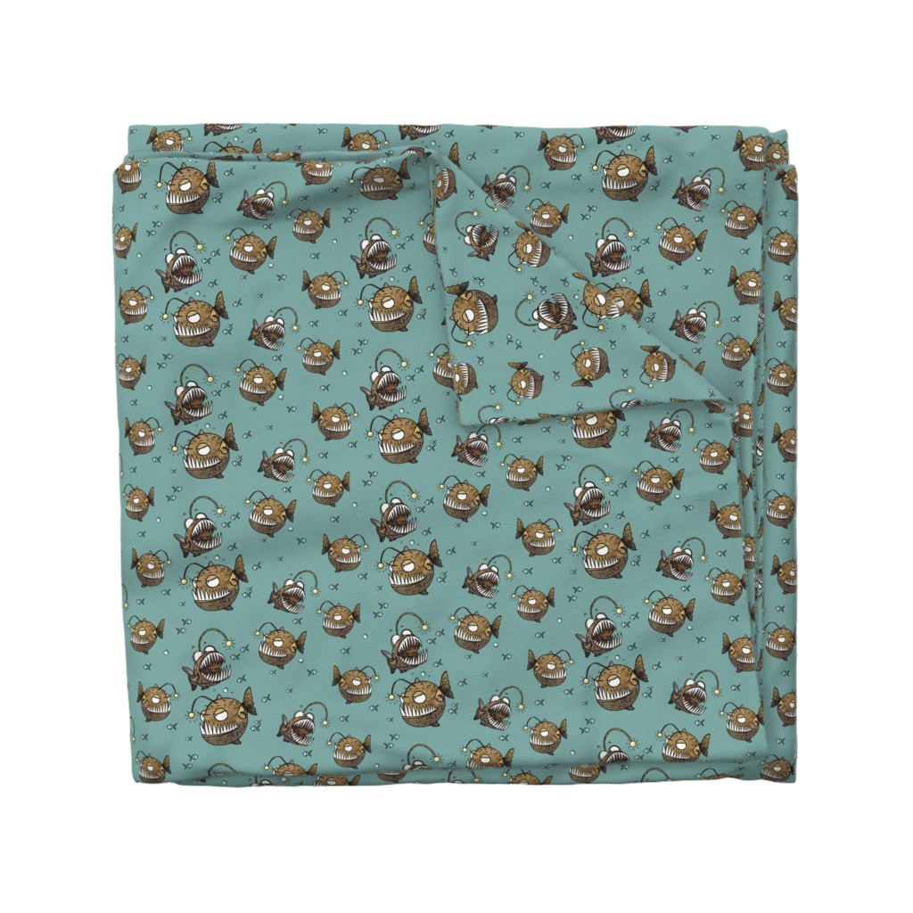 Wyandotte Duvet Cover featuring Cranky fish by mulberry_tree