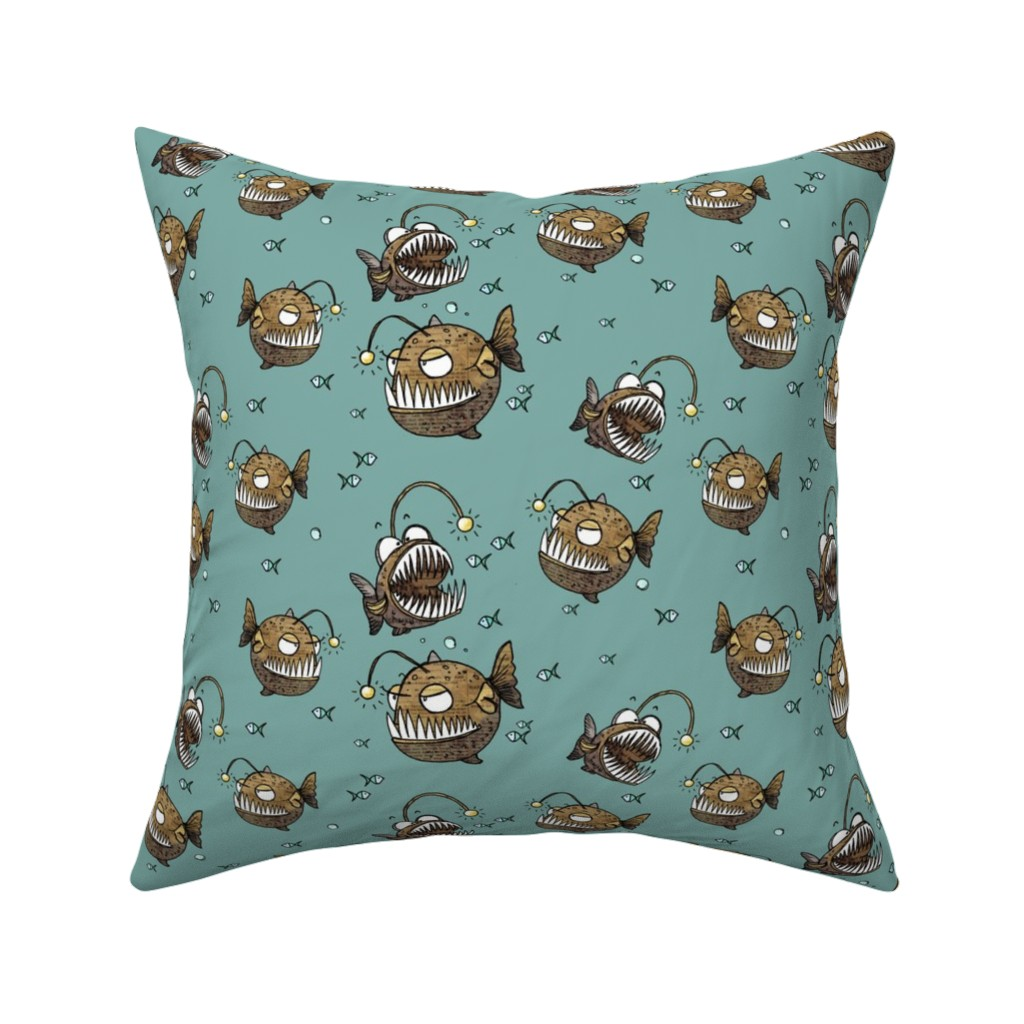 Catalan Throw Pillow featuring Cranky fish by mulberry_tree