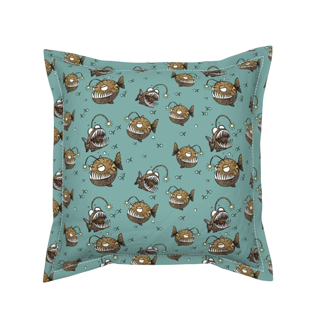 Serama Throw Pillow featuring Cranky fish by mulberry_tree