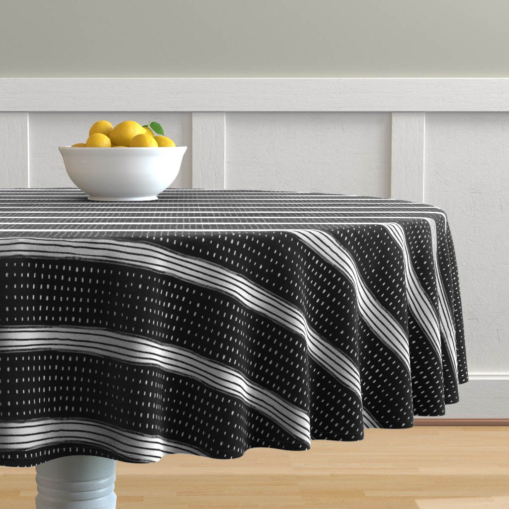 Malay Round Tablecloth featuring Stripes and Spots by karina_love