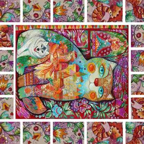 Russian Fairy tales Fabric Panel Oxana Zaika Ivan & Gray woolf