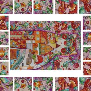 Russian Fairy tales Fabric Panel Oxana Zaika