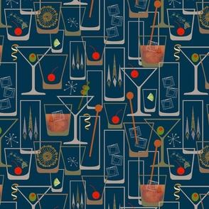 Retro Bar 1950s  Blue