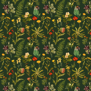 vintage  wildflowers -dark green