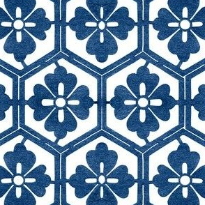 Japanese Hexagonal Stencil1 large indigo-white