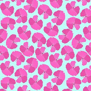 Pink Hibiscus Green Background-01