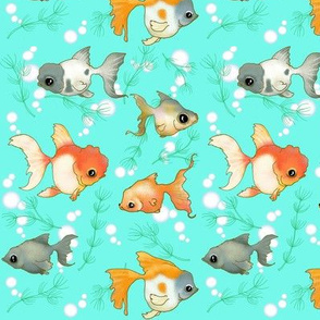 Goldfish (Small print teal)