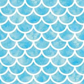 blue watercolor mermaid scales