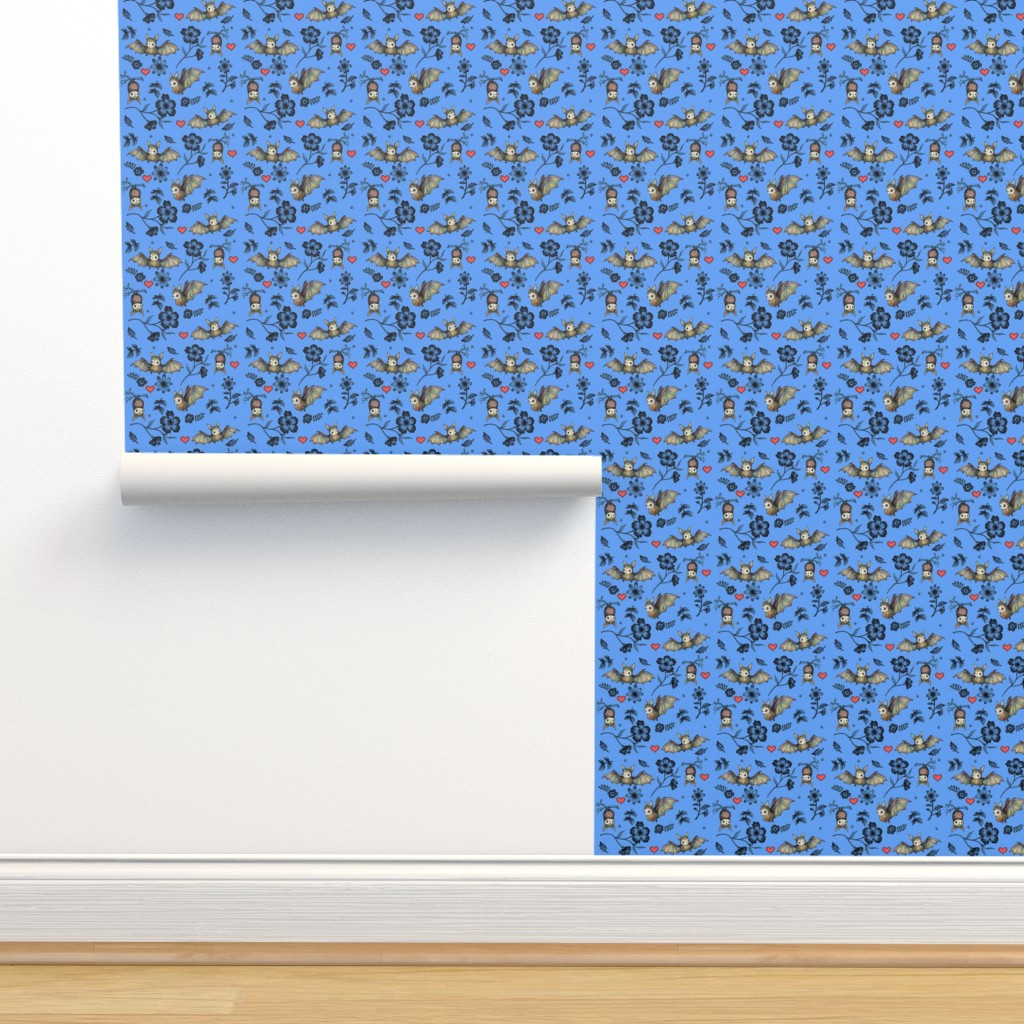 Isobar Durable Wallpaper featuring Bats and Hearts (Small print blue) by andrea_zuill