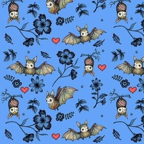 Bats and Hearts (Small print blue)