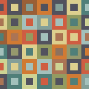 Square In Square - Earthtones - Wholecloth Quilt,  Cheater Quilt - Solid Colors