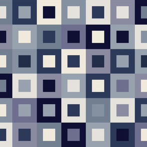 Square In Square - Small - Indigo - Cheater Quilt, Wholecloth Quilt