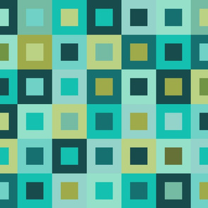 Square In Square - Turquoise- Cheater Quilt, Wholecloth Quilt,