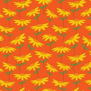 Modern Orange and Yellow Flower Print