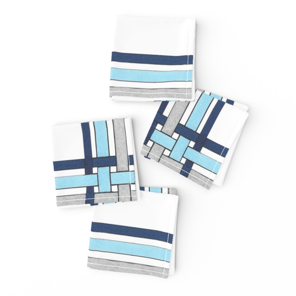 Frizzle Cocktail Napkins featuring Sapphire Blue Picture Frame Plaid  by debra_may_himes,_asid